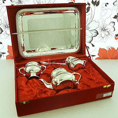 Beautiful Silver Brass Tea Serving Set with Tray
