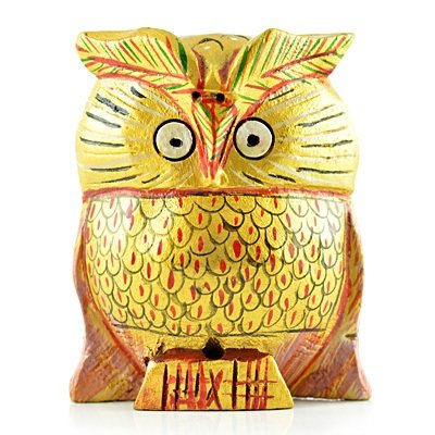 Handicraft Owl in Wooden Painted Gifts
