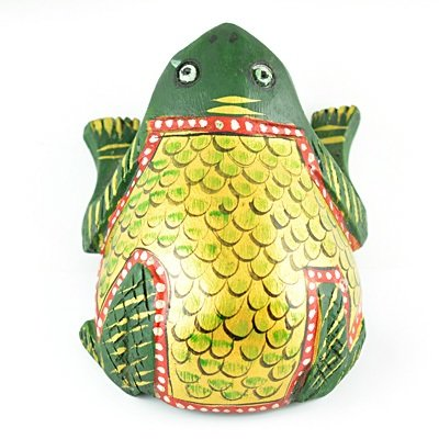 Wooden Decorative Handicraft Frog Painted