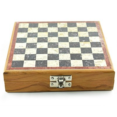 Handicraft Chess in Wooden with Marble Chessboard Portable