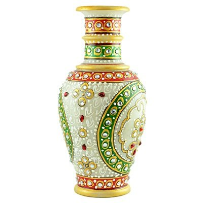 Glorious Marble Handicraft Painting Flower Pot-6 inches