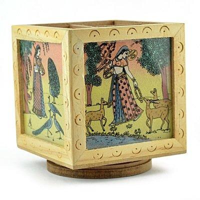 Wooden Painted Revolving Pen Holder Handicraft Gift