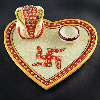 Heart Shape Marble Pooja Thali with Ganesha Statue