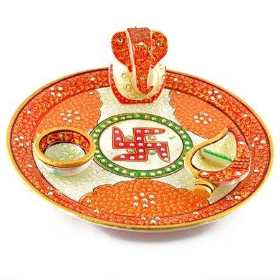 Amazing Handicraft Marble Pooja Thali with Ganesha