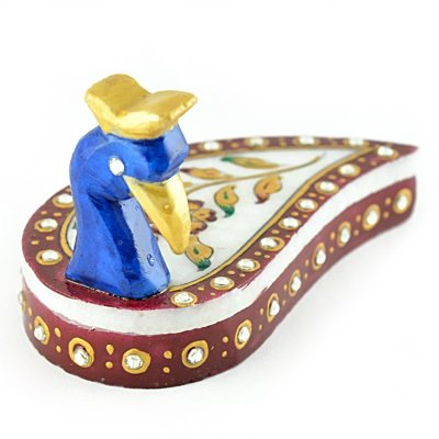 Handicraft Marble Peacock Chopra-Roli Chawal Holder