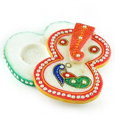 Ganesha Shape Marble Chopra-Roli Chawal Holder