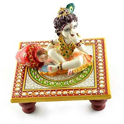 Marble Handicraft-Laddu Gopal Sitting on Chouki