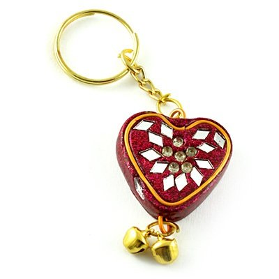 Lacquer Handicraft Key Chain in Heart Shape