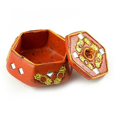 Lacquer Colored Sindoor Box with Handicraft work