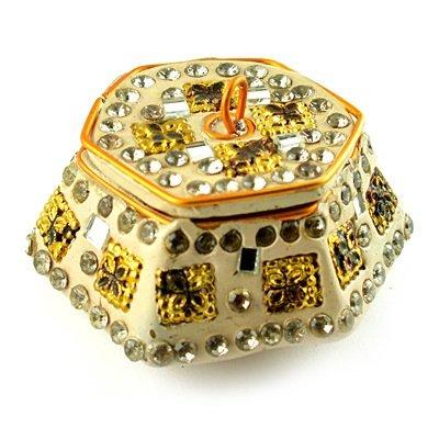 Sindoor Box with Handicraft Work in Cream Color