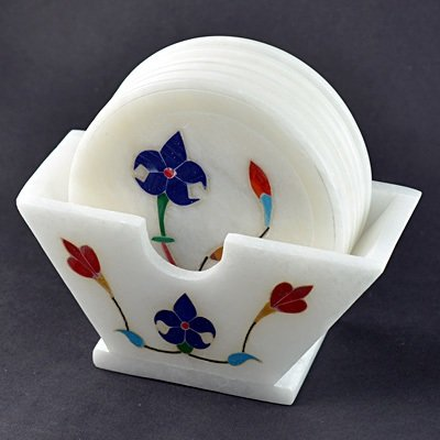 White Stone Coaster Standing with Flower Design