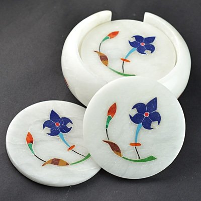 White Stone Coaster Horizontal with Flower Handicraft