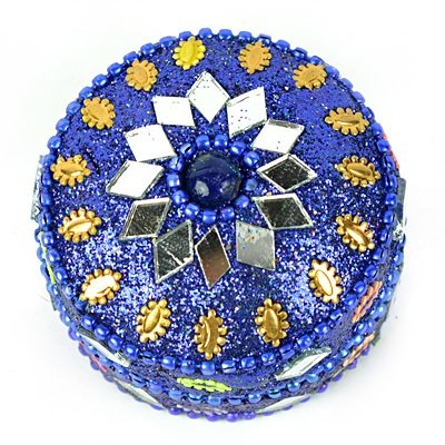 Handicraft Lacquer Glass Worked Box Circular