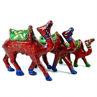 Lacquer Camel Set of 3 Camels Handicraft