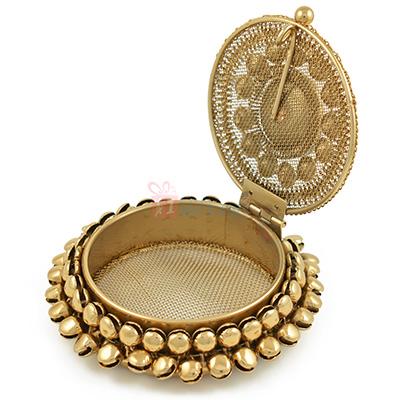 Jewel Studded Circular Antique Box