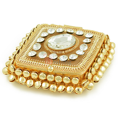 Jewel Studded Square Roli Chawal Box