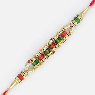 Superb Golden Shining Cutting Beads jewel Rakhi
