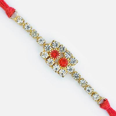 Red and White Diamond Base Attractive Jewel Rakhi