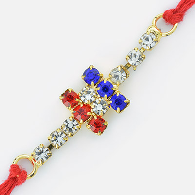Red Mauli Dori String Rakhi with Designer Setting of Diamonds