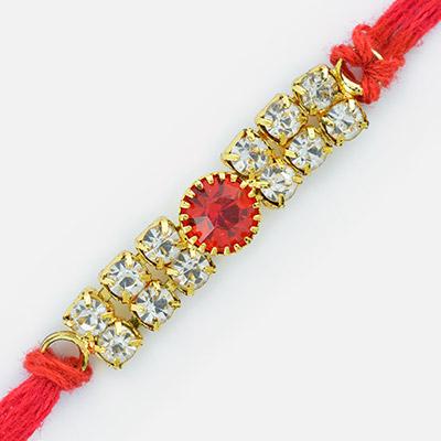 Superb and Fancy Diamond Golden Rakhi