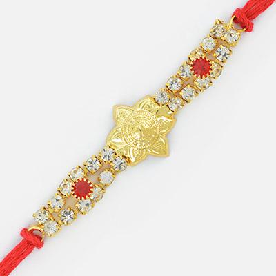 Beautiful Golden Flower Design Double String Jewel Rakhi