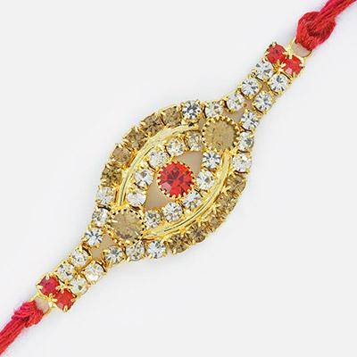 Tri-color Diamonds Eye look String Rakhi