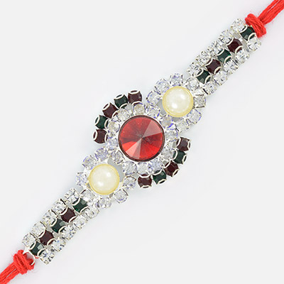 Beautiful White Jewel Red Rubi Silver Touch Rakhi