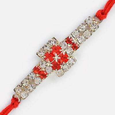 Bi-color Diamonds Linear Rakhi