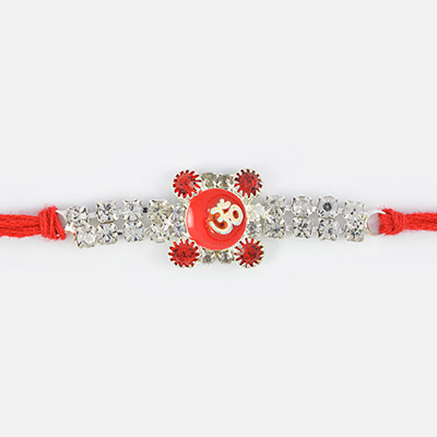 Om Mauli Rakhi in Glass with Diamonds