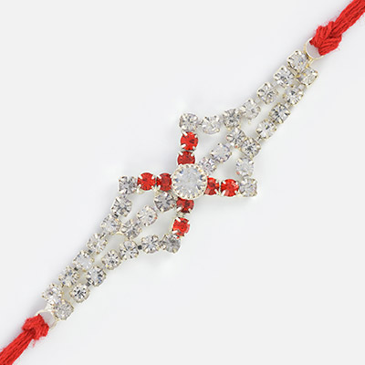 Awesome White and Red Jewel Silver Rakhi