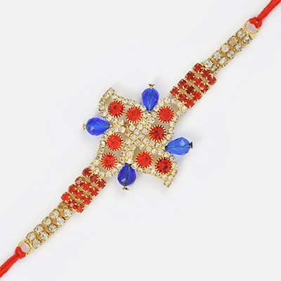Diamond with Golden Base and Beads Fancy Rakhi