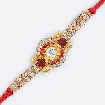 Uniquely Design Amazing Golden Rakhi with Diamonds