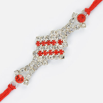 Gracious Precious Bi-Color Diamond Rakhi Red Dori