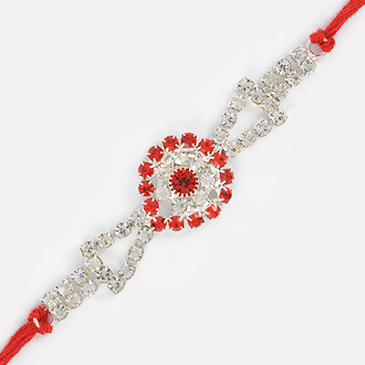 Rakri Pattern Jewel Studded Beautiful Rakhi