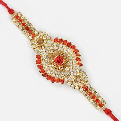 Superb and Fancy Diamond Golden Flower Rakhi
