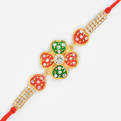 Heart Shape Central Studded Diamond with Golden base Rakhi