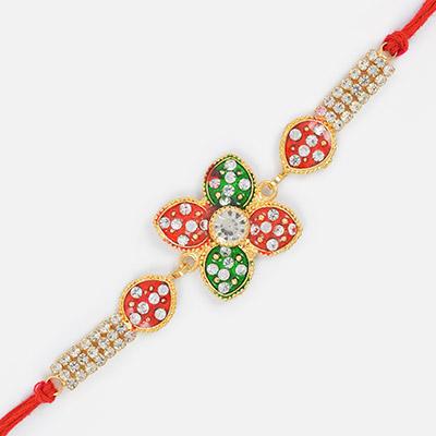 Floral Shape Kundan Work Designer Rakhi