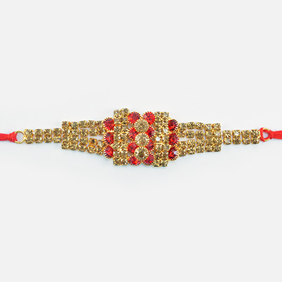 Bunch of Jewel Dotted on Golden Base Antique Jewel Rakhi for Brother