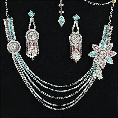 Fancy Flowers Chain Neclace Set Jewelry Silver Color