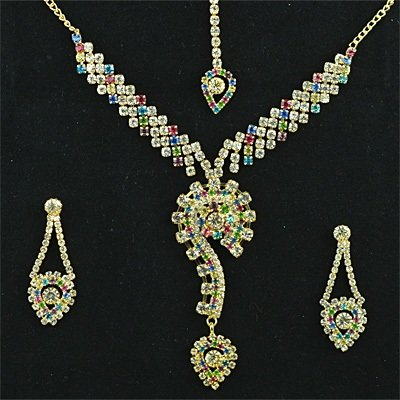Muticolor Small Diamond Golden Fashion Jewelry Set