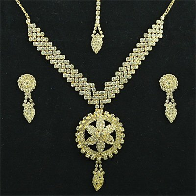 Golden Diamon Flower Fashion Jewelry Set