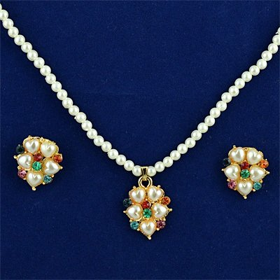 Heart Pearl Locket Jewelry Set with Earings