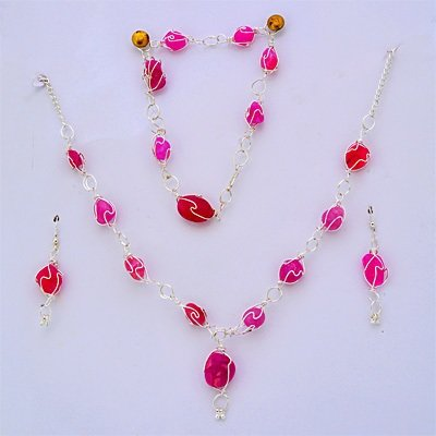 Silver Fashion Jewelry Set with Pink Stones