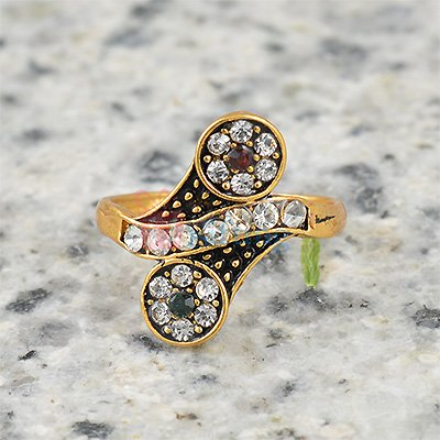 Beautiful Shape Diamond Meena Ring