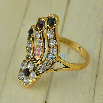 Fancy Designer Flower Diamond Golden Ring