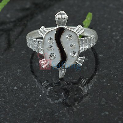 Silver Fancy Turtle Meena Diamond Ring