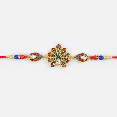 Stylish Colorful Peacock Designer Kundan Meena Rakhi