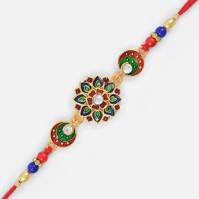 Kundan Special Golden Designer Rakhi with Moli Threads