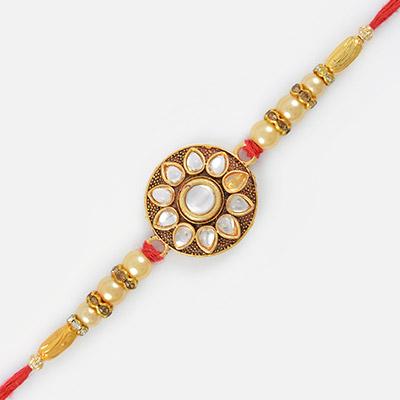 Kundan Special Golden and Diamond Designer Rakhi with Moli Threads