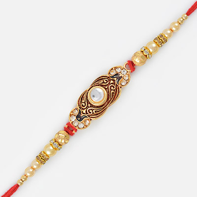 Kundan Meena Diamond Golden Based Awesome Rakhi